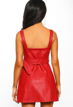 Rebel Love Red Faux Leather Belted Biker Mini Dress