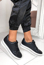 Renee Black Diamante Platform Trainers