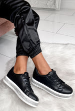 Black Leather Platform Trainers