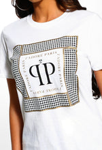 Dogtooth Printed Slogan T-Shirt - Detail View
