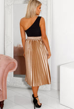 Robyn Champagne Metallic Pleated Midi Skirt