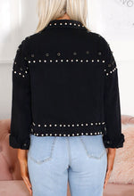 Cropped Denim Jacket with Studs - Back View