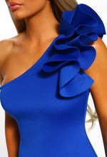 One Shoulder Blue Ruffle - Detail View