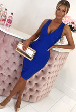 Cobalt Blue Cross Strap Bandage Midi Dress - with Background