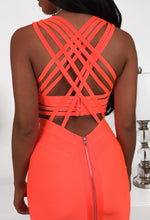 Cross Back Neon Orange Bodycon Dress