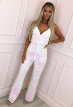 White Sequin Wide Leg Jumpsuit - Front with Background