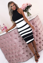 So Lavish Black Striped Bandage Midi Dress