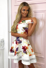 Ivory Floral Bardot Midi Dress - With Background