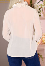 Long Sleeve Stone Chiffon Blouse