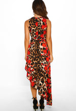 Animal Print Midi Dress - Back View