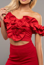 Red Off Shoulder Ruffle Top