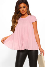 Pink Pleated Detail Top