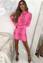 Say No More Neon Pink Snake Print Long Sleeve Mini Dress