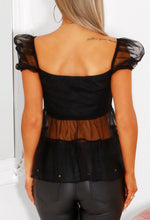 Black Tulle Puff Sleeve Top