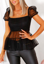 Black Puff Sleeve Top