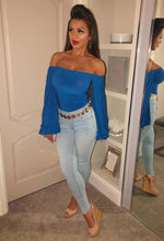 Off Shoulder Blue Bodysuit