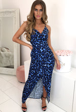 Blue Leopard Print Wrap Maxi Dress - With Background