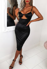 Black Satin Underwired Midi Dress