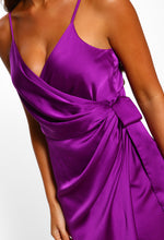 Purple Satin Wrap Dress