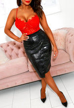 Sheer Show Black PU Croc Leather Skirt