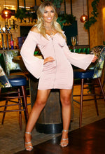 Pink Off Shoulder Satin Mini Dress