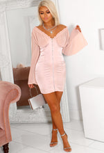 Chiffon Sleeve Pink Satin Mini Dress