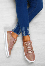 Sparkle N Go Rose Gold Glitter Trainers