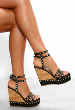 Sunkissed Barbie Black Studded Strappy Wedges