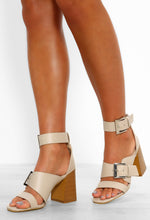 So Essential Nude Buckle Detail Strappy Block Heels