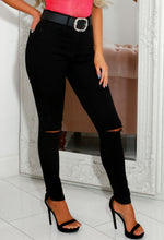 Skylar Black High Waist Ripped Knee Skinny Jeans