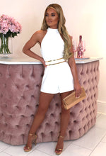 So Angelic White Halterneck Belted Playsuit