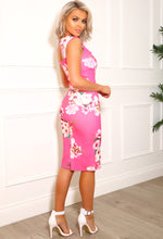 Pink Floral Bodycon Midi Dress