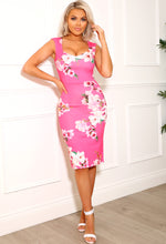 So Flawless Pink Floral Bodycon Midi Dress