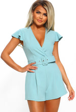 So Adorable Duck Egg Blue Belted Wrap Playsuit