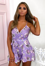 Soft Touch Purple Floral Wrap Playsuit