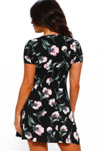 Black Floral Tea Dress