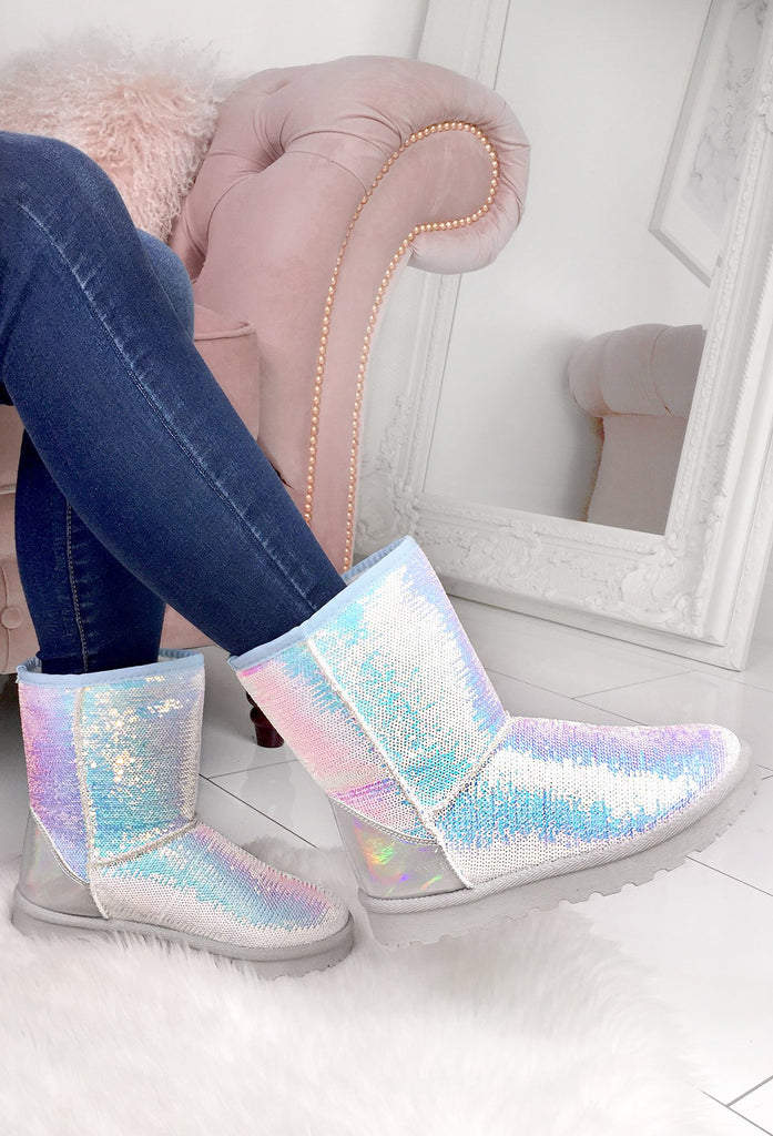 Sprinkles White Mermaid Sequin Faux Fur Lined Boots by Pink Boutique