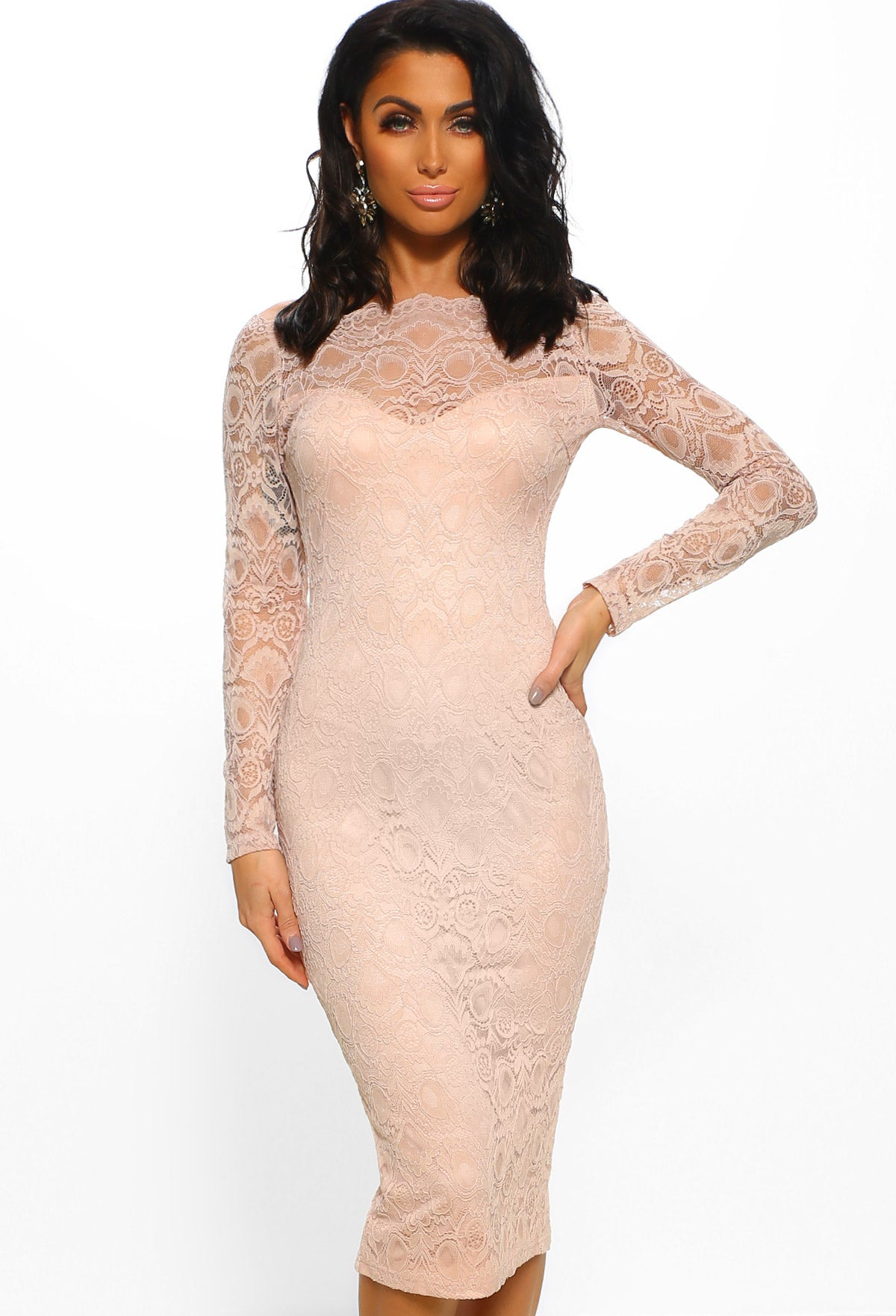 04980b88d63 Dark Pink Premium Lace Midi Dress With Bardot Sleeves - Gomes Weine AG