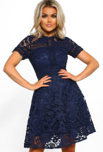 Navy Lace Detail Dress