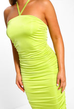 Lime Slinky Ruched Midi Dress
