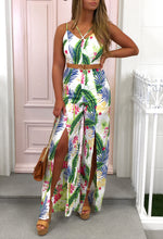 Summer Delight White Tropical Print Split Leg Jumpsuit