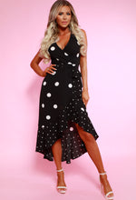 Monochrome Polka Dot Frill Wrap Maxi Dress - With Background