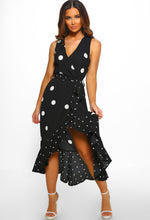 Monochrome Polka Dot Frill Wrap Dress