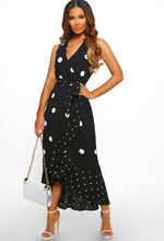 Polka Dot Frill Wrap Maxi Dress