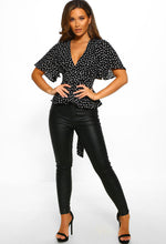 Polka Dot Black Blouse Outfit - Full Length View
