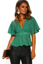 Green Polka Dot Peplum Blouse