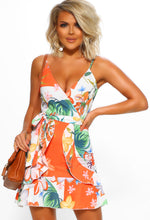 Orange Floral Mini Dress