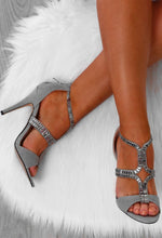 Supreme Grey Suede Embellished Strap Stiletto Heels