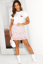 Suzie White Strawberry Print Ruched Mini Skirt