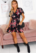 Black Floral Wrap Mini Dress